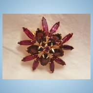 Gorgeous Vintage dome Purple amethyst and ruby red color Jour rhinestone Brooch