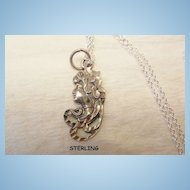 Small gorgeous Sterling Diamond cut Art Nouveau woman portrait Necklace