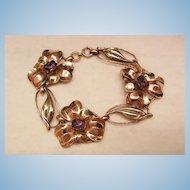 Stunning rare Silver 12k GF Art Nouveau Amethyst color Flower link Bracelet