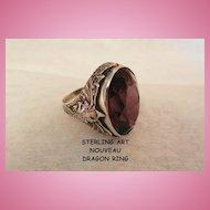 Fabulous Sterling Art Nouveau Amethyst color dragon Ring size 6