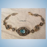 Beautiful Deco style Sterling Blue topaz color and rhinestone Link Bracelet