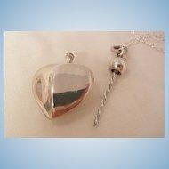 Fantastic art Nouveau style sterling heart perfume bottle Necklace