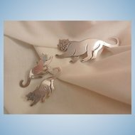 Fantastic Mexico 925 Walking Panther Brooch and Earring Set