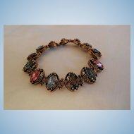 Gorgeous Russian gold tone bevel cut purple blue pink glass rhinestone link Bracelet