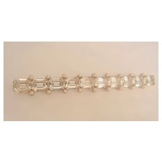 Fantastic Art Deco Baggett rhinestone Seed bead Long Bar Brooch