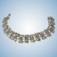 Beautiful blues by BSK rhinestone enamel link Bracelet