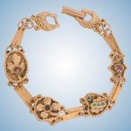 Goldette double link lucky clover heart rhinestone Bracelet