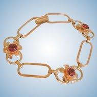 Lovely Sterling gold filled red rhinestone link Bracelet Excellent Condition