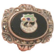 Rare Uncas sterling marcasite half moon dove enamel Onyx Ring Size 5 1/2