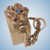 Vintage small square purple deep blue color rhinestone perfume Bottle flask Pendant