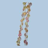 Gorgeous Pastel Lavender pink green Swarovski crystal glass Necklace