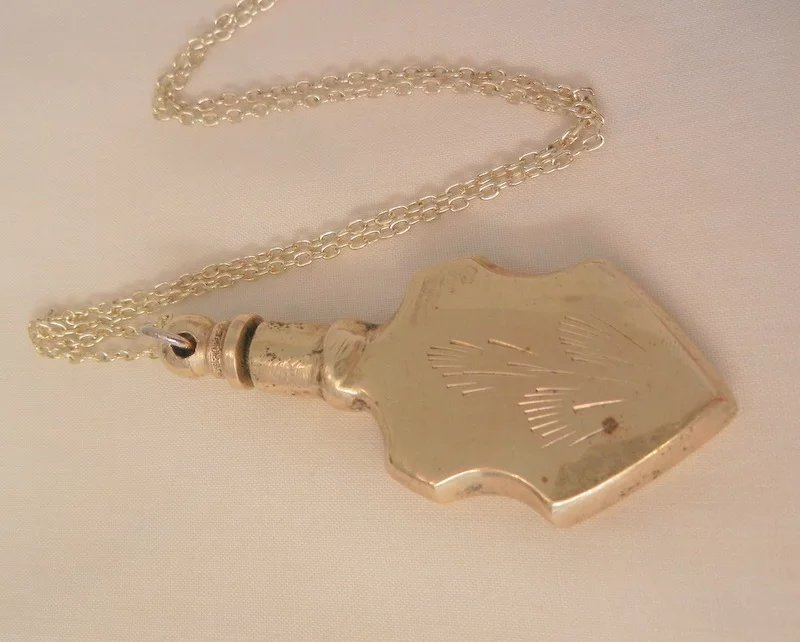 Vintage Brass Etched Perfume Bottle Necklace Wear Me Out