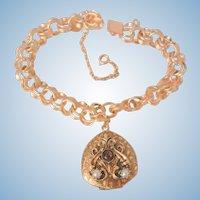 Fantastic ornate Heart Locket bold double link gold filled charm Bracelet