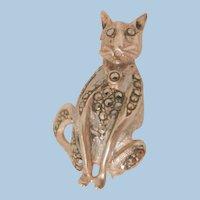 Crazy cute sterling marcasite small Cat Brooch