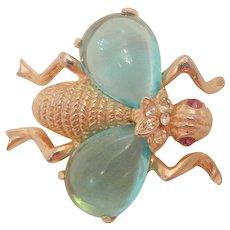 Rare vintage glass Aqua Jour wings rhinestone fly Brooch