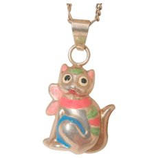 Fabulous Sterling enamel puffy cat Italy Necklace - Red Tag Sale Item