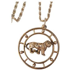 Celebrity N.Y. Walking tiger in a open circle Necklace
