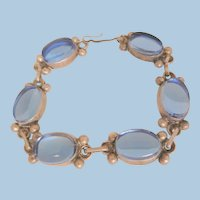 Gorgeous sterling Mexico London blue color glass stone Bracelet