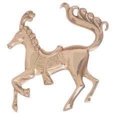 Rare vintage Sterling prancing horse Brooch marked Lang