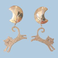 Adorable Cats dangling on half moon Copper Silver Pierced Earrings