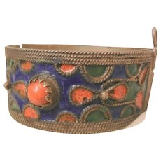 Fantastic Vintage Tibetan pin clasp deep blue green and coral color enamel bangle Bracelet