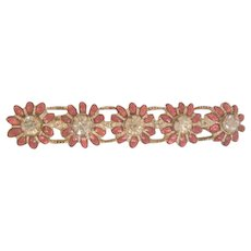 Gorgeous Art Deco clear rhinestone glass red stone bar pin Brooch