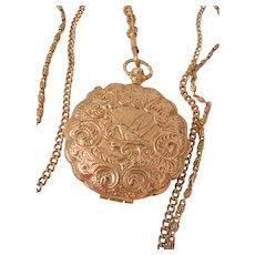 Rare large Goldette Lithe bird locket triple chain Necklace