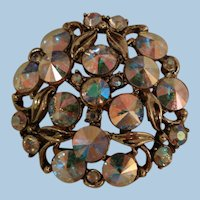 Breathtakingly beautiful Hollycraft hallmarked Rivoli rhinestone Brooch
