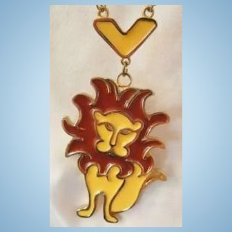 Vintage large poured glass enamel Lion Necklace