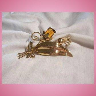 Beautiful Art Deco Sterling crystal Brooch