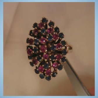 Vintage 10k Gold Ruby sapphire Cocktail Ring
