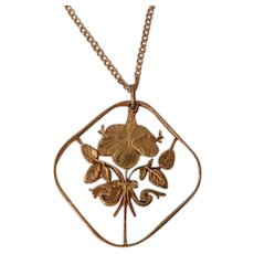 Vintage gold filled Lily flower cut out necklace