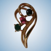 Vintage 585 gold slider Pendant with genuine sapphire ruby and emerald stones
