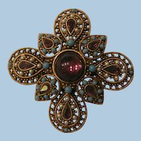 Outstanding Arthur Pepper Amethyst color moonstone rhinestone faux turquoise seed bead Brooch