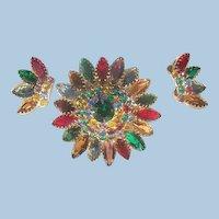 Gorgeous Demi Parure Rhinestone Jour colorful domed Brooch crown earrings Set