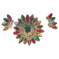 Gorgeous Demi Parure Rhinestone Jour colorful domed Brooch crown earrings Set
