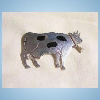 Mexico 925 Sterling Large whimsical Cow Brooch Pendent