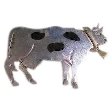 Mexico 925 Sterling Large whimsical Cow Brooch Pendant