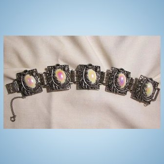 Bold Ornate Beautiful Pastel art glass cabochon Link Bracelet