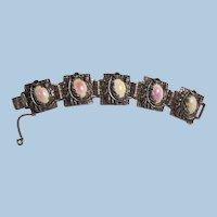 Bold Ornate Beautiful Pastel art glass cabochon Link Bracelet