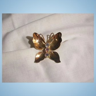 Beautiful Early Coro script Rhinestone Butterfly Brooch 1955