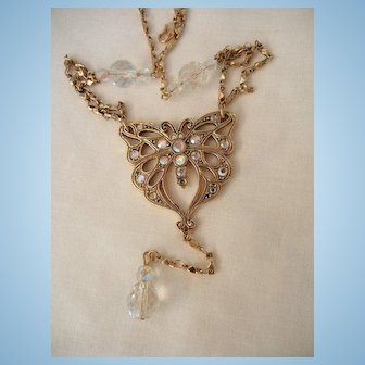 Gorgeous Designer Rhinestone and dangling glass crystal Butterfly Necklace