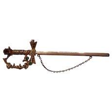 Fantastic Vintage Chatelaine Sterling rhinestone sword Brooch