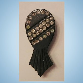 Early plastic black etched rhinestone sweater clip USA