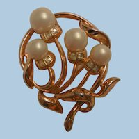 Vintage Trifari Crown Simulated pearl and rhinestone Brooch