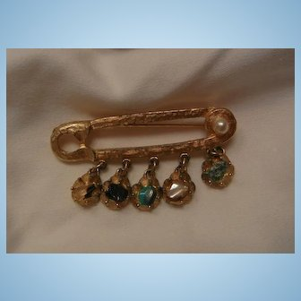 Fabulous BSK Safety pin design dangling gemstone Brooch