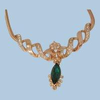 Lovely emerald color drop rhinestone snake chain Necklace