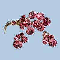 Gorgeous Pink Rivoli Rhinestone Brooch Earring set marked Austria