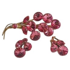 Gorgeous Pink Rivoli Rhinestone Brooch Earring set marked Austria