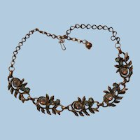 Vintage link aroura borealis rhinestone Necklace